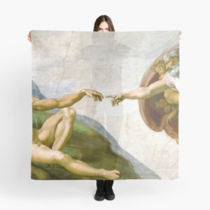 The Creation of Adam Painting by Michelangelo Sistine Chapel Scarves