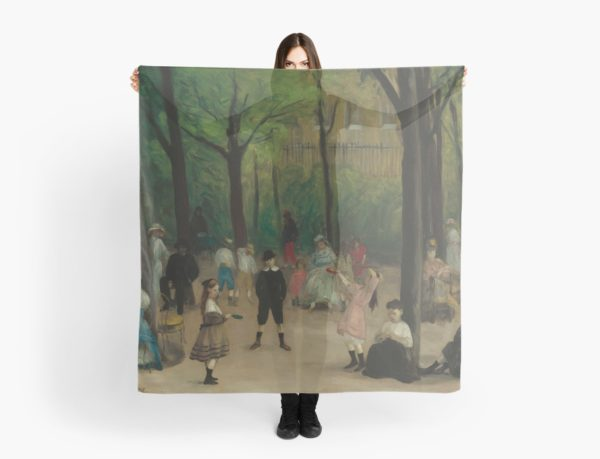 Luxembourg Gardens Oil Painting by William James Glackens Scarves