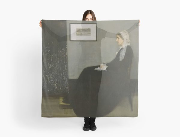 Whistlers Mother Oil Painting by James McNeill Whistler Scarves