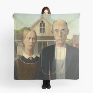 American Gothic Oil Painting by Grant Wood Scarves