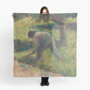 Peasant with a Hoe Oil Painting by Georges Seurat Scarves