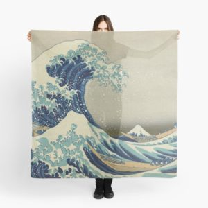 The Classic Japanese Great Wave off Kanagawa by Hokusai Scarves