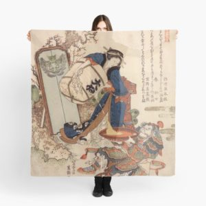 The Strong Oi Pouring Sake by Katsushika Hokusai Scarves