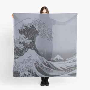 Silver Japanese Great Wave off Kanagawa by Hokusai Scarves