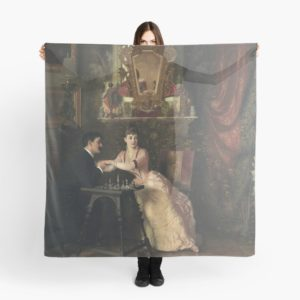 The Proposal Oil Painting by Knut Ekwall Scarves