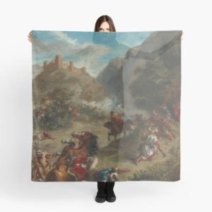 Arabs Skirmishing in the Mountains Oil Painting by Eugène Delacroix Scarves