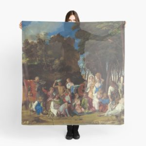 The Feast of the Gods Painting by Giovanni Bellini and Titian Scarves