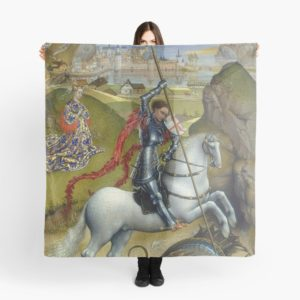 Saint George and the Dragon Oil Painting by Rogier van der Weyden Scarves
