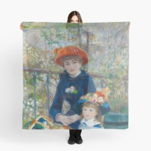 Two Sisters on the Terrace Oil Painting by Auguste Renoir Scarves