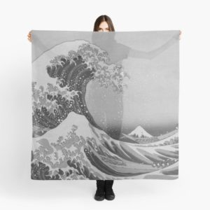 Black and White Japanese Great Wave off Kanagawa by Hokusai Scarves