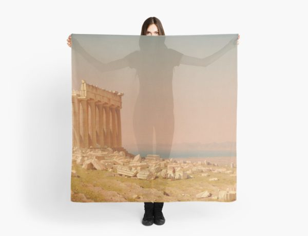Ruins of the Parthenon Oil Painting by Sanford Robinson Gifford Scarves