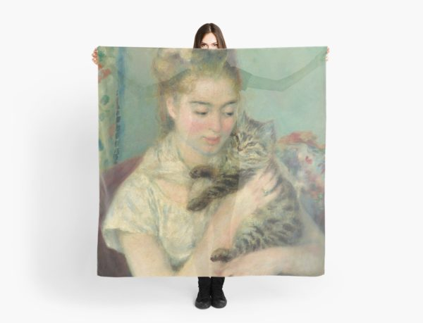 Woman with a Cat Oil Painting by Auguste Renoir Scarves