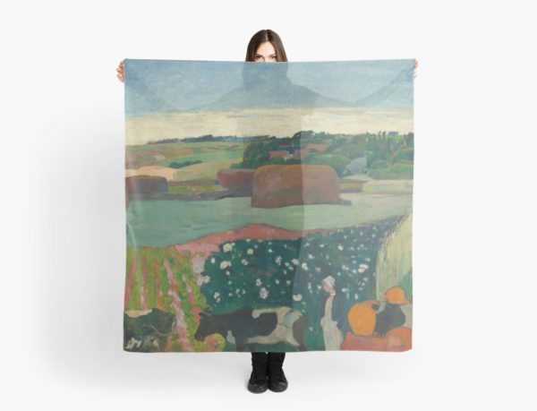 Haystacks in Brittany Oil Painting by Paul Gauguin Scarves