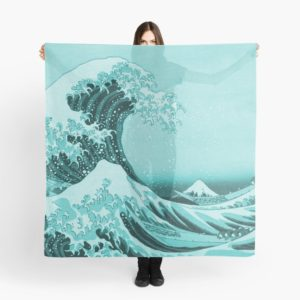 Aqua Blue Japanese Great Wave off Kanagawa by Hokusai Scarves