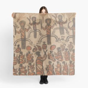 Wurundjeri People Charcoal Drawing by Australian William Barak Scarves