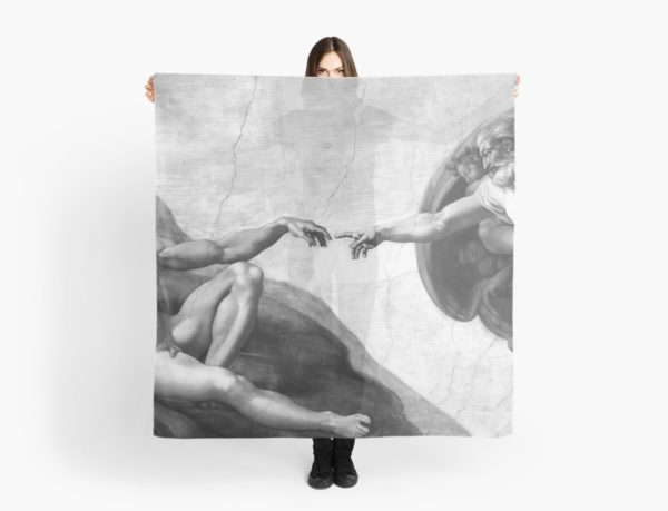 Black and White Creation of Adam Painting by Michelangelo Sistine Chapel Scarves