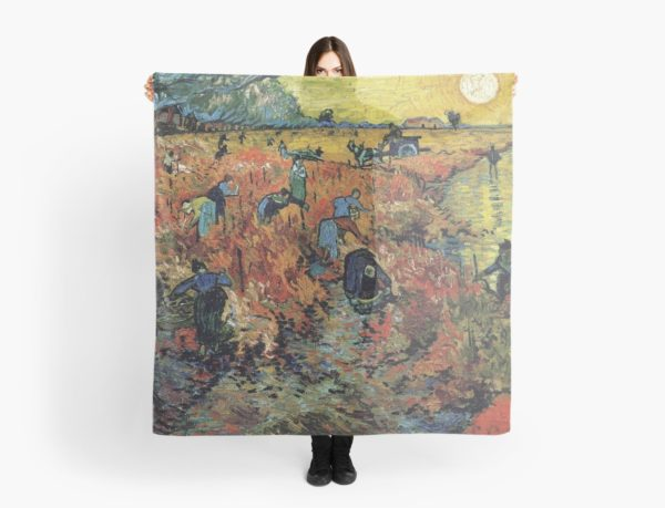 The Red Vineyards Oil Painting on Burlap by Vincent van Gogh Scarves