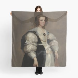 Lady with a Fan Oil Painting by Sir Anthony van Dyck Scarves