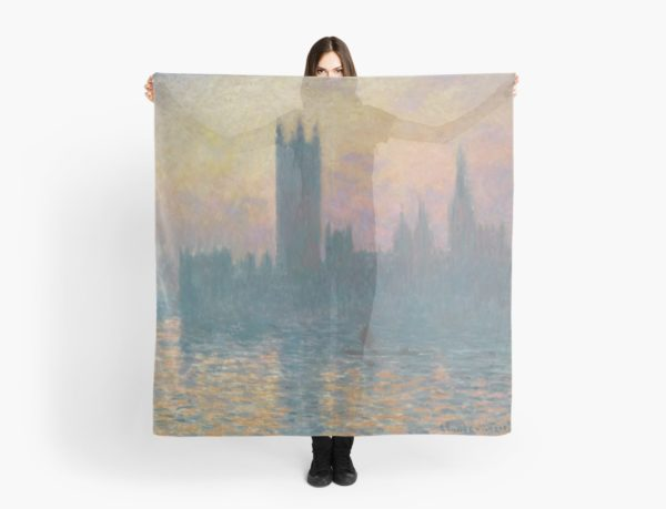 The Houses of Parliament  Sunset by Claude Monet Scarves