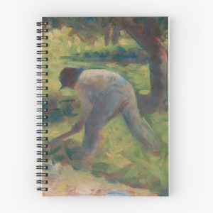 Peasant with a Hoe Oil Painting by Georges Seurat Spiral Notebooks