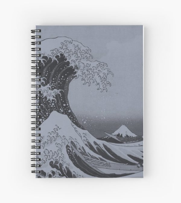 Silver Japanese Great Wave off Kanagawa by Hokusai Spiral Notebooks