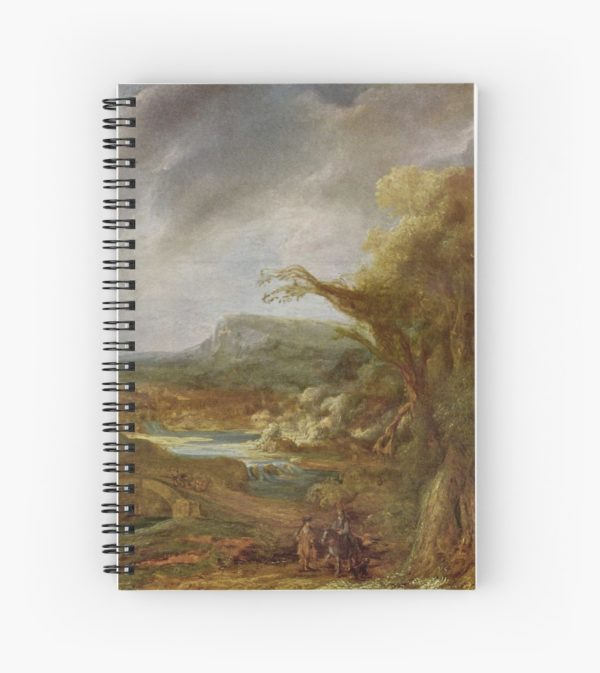 Stolen Art - Landscape with an Obelisk by Govert Flinck Spiral Notebooks