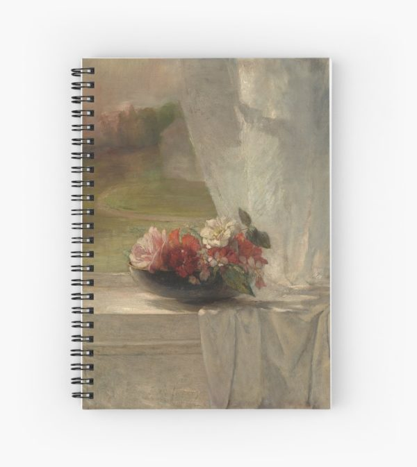 Flowers on a Window Ledge Oil Painting by John La Farge Spiral Notebooks