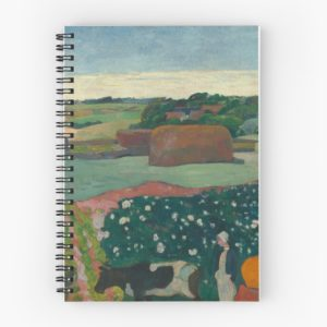 Haystacks in Brittany Oil Painting by Paul Gauguin Spiral Notebooks