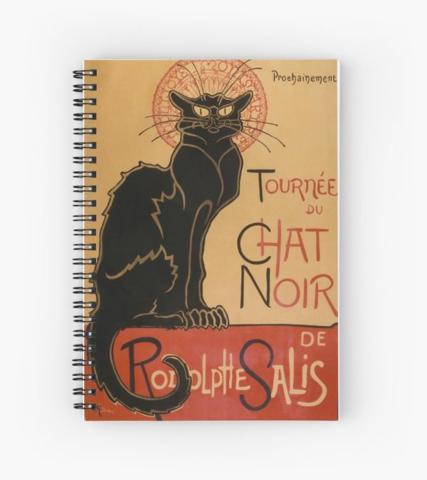 Le Chat Noir The Black Cat Poster by Théophile Steinlen Spiral Notebooks