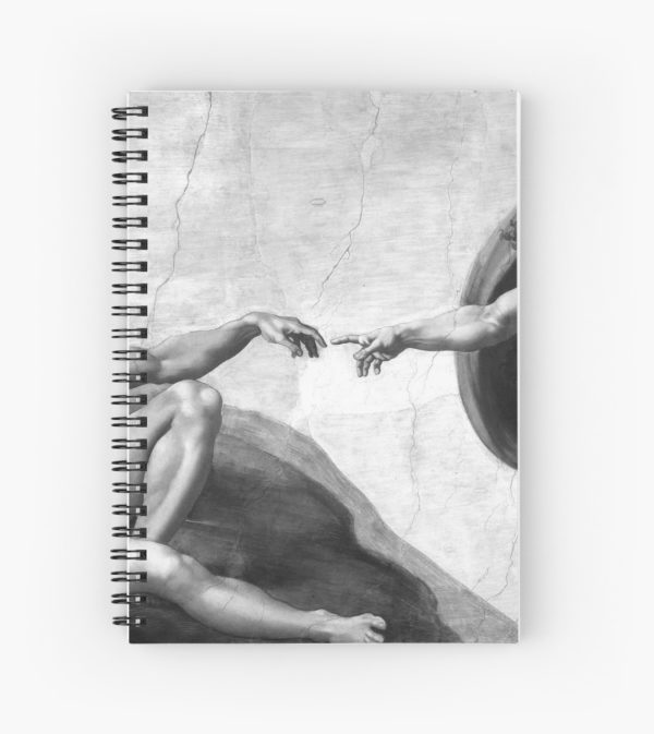 Black and White Creation of Adam Painting by Michelangelo Sistine Chapel Spiral Notebooks