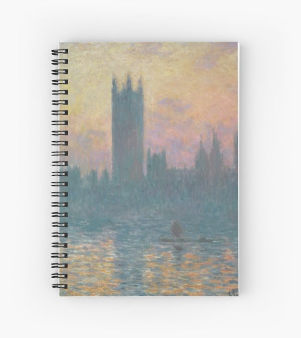 The Houses of Parliament  Sunset by Claude Monet Spiral Notebooks