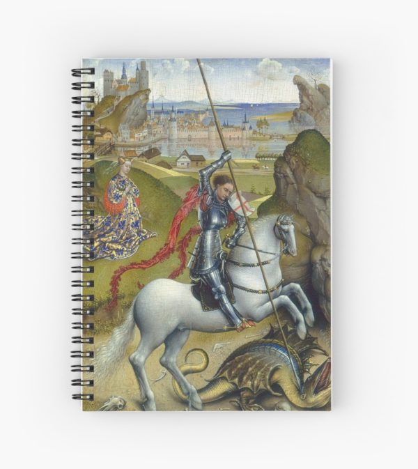 Saint George and the Dragon Oil Painting by Rogier van der Weyden Spiral Notebooks