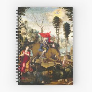 Saint George and the Dragon Oil Painting by Sodoma Spiral Notebooks