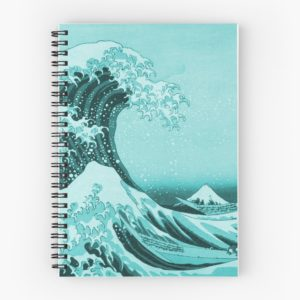 Aqua Blue Japanese Great Wave off Kanagawa by Hokusai Spiral Notebooks