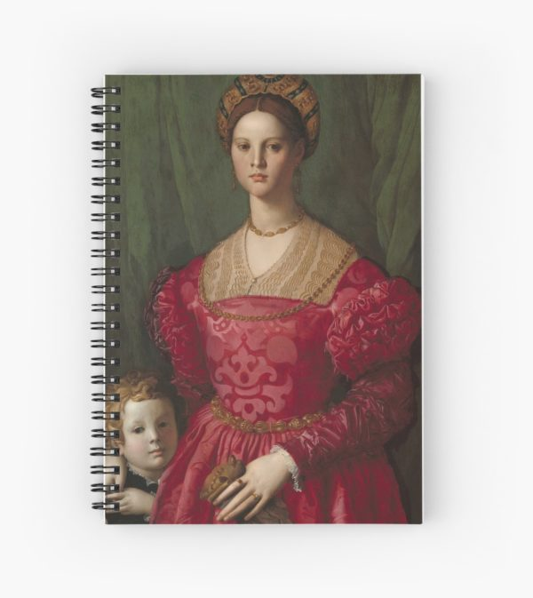 A Young Woman and Her Little Boy Oil Painting by Agnolo Bronzino Spiral Notebooks