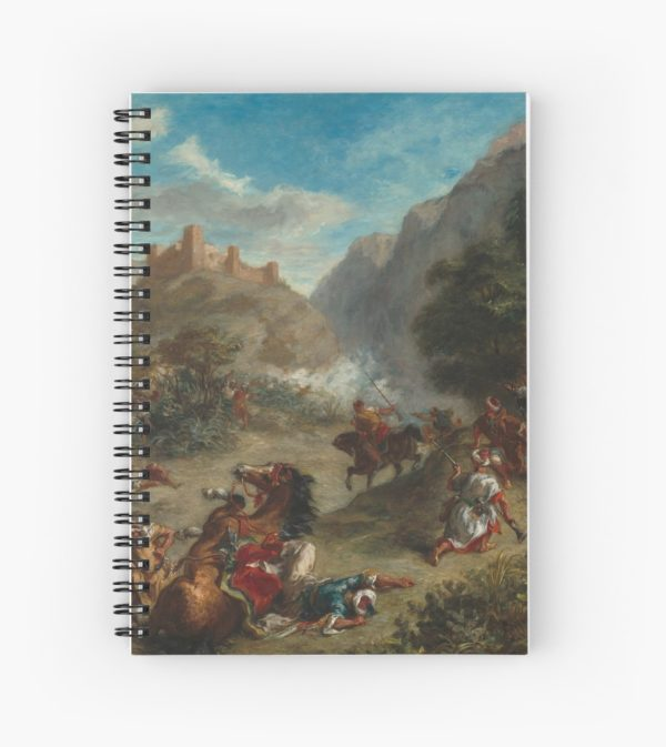 Arabs Skirmishing in the Mountains Oil Painting by Eugène Delacroix Spiral Notebooks