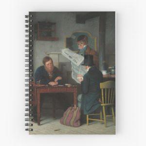 Waiting for the Stage Oil Painting by Richard Caton Woodville Spiral Notebooks
