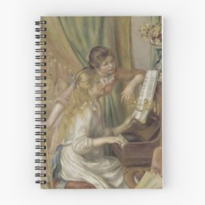 Young Girls at the Piano Oil Painting by Pierre Auguste Renoir Spiral Notebooks