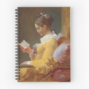 Young Girl Reading Painting by Jean-Honoré Fragonard Spiral Notebooks