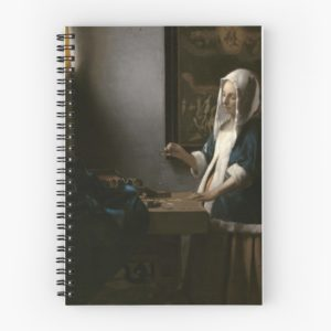 Woman Holding a Balance Oil Painting by Johannes Vermeer Spiral Notebooks