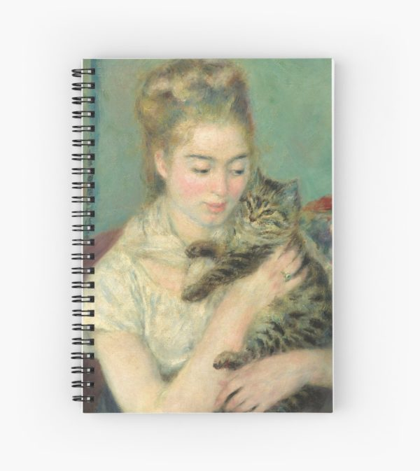 Woman with a Cat Oil Painting by Auguste Renoir Spiral Notebooks