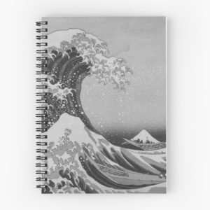 Black and White Japanese Great Wave off Kanagawa by Hokusai Spiral Notebooks