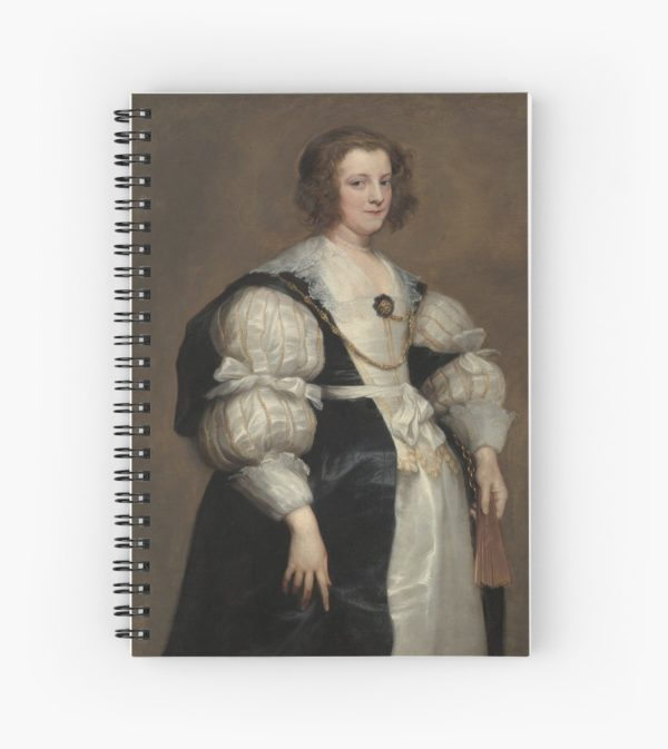 Lady with a Fan Oil Painting by Sir Anthony van Dyck Spiral Notebooks