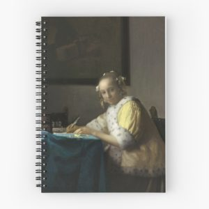 A Lady Writing Oil Painting by Johannes Vermeer Spiral Notebooks