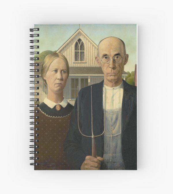 American Gothic Oil Painting by Grant Wood Spiral Notebooks