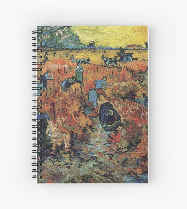 The Red Vineyards Oil Painting on Burlap by Vincent van Gogh Spiral Notebooks