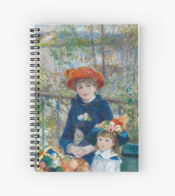 Two Sisters on the Terrace Oil Painting by Auguste Renoir Spiral Notebooks