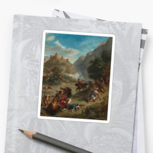 Arabs Skirmishing in the Mountains Oil Painting by Eugène Delacroix Stickers