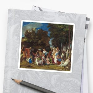 The Feast of the Gods Painting by Giovanni Bellini and Titian Stickers