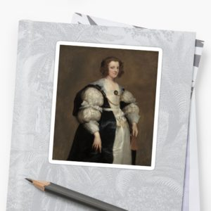 Lady with a Fan Oil Painting by Sir Anthony van Dyck Stickers